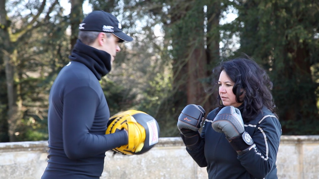 Shelley boxing with her world champion kick boxing boyfriend Bruno Gottfrois
